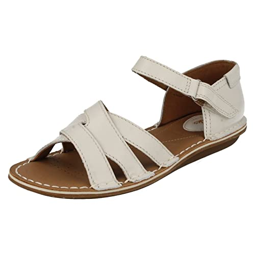 63b5b9f01565 Clarks Womens Casual Clarks Tustin Sahara Leather Sandals In Off White Wide  Fit Size 4