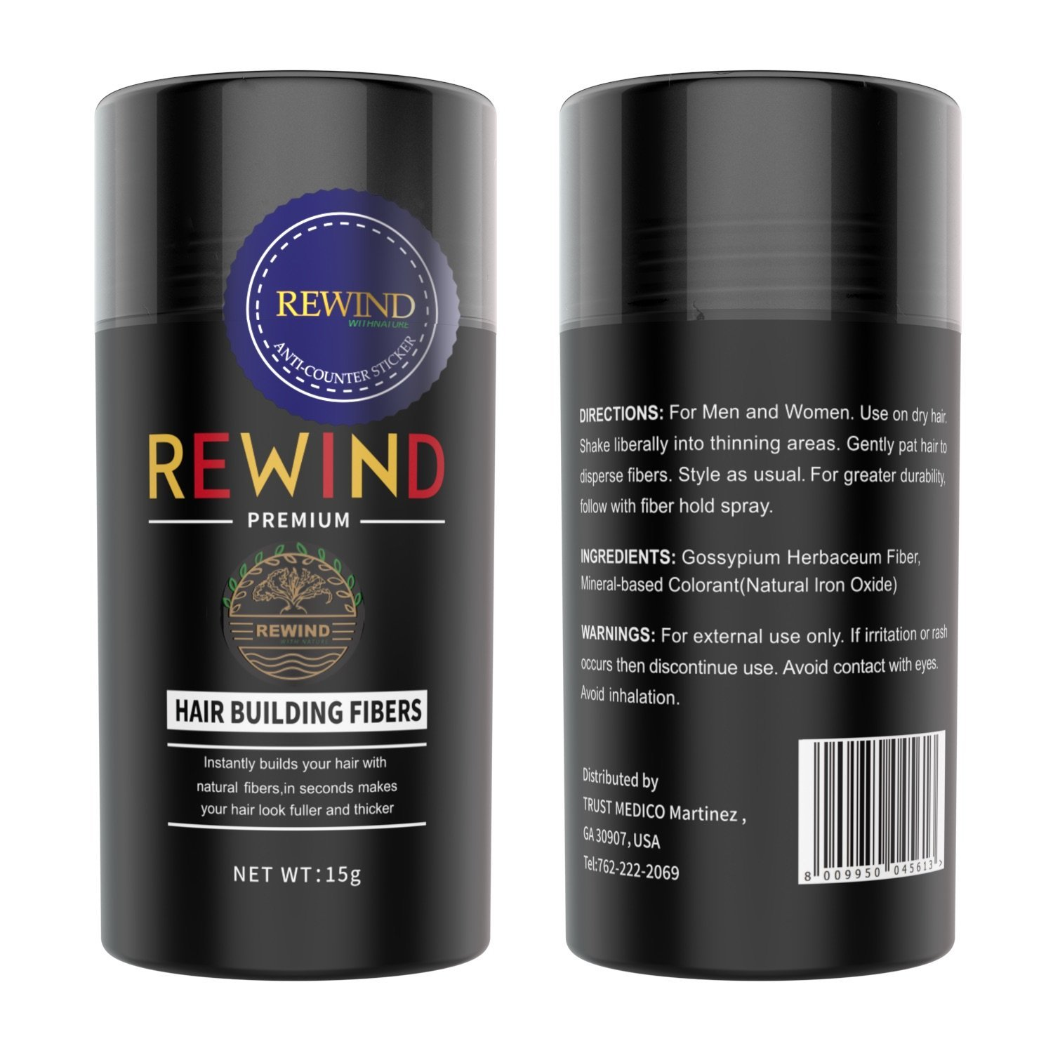 Hair Building Fibers Conceal Thinning Hair Unisex by Rewind With Nature 15g (Black)