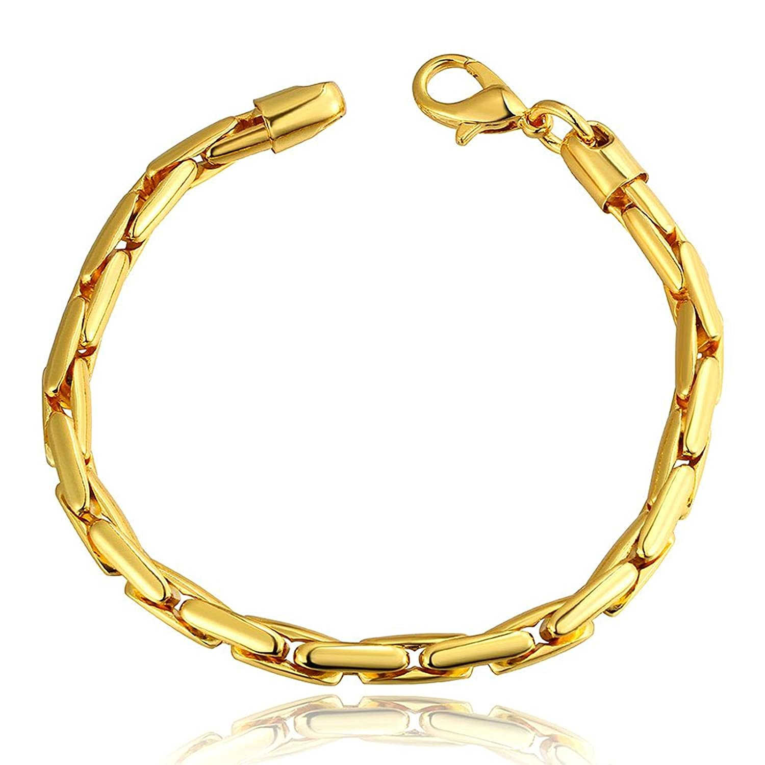 Charm Bracelet,Gold Plated Gold Lobster Claw Link Bracelet Bangle for Women Girl Gold Aokarry Jewelry