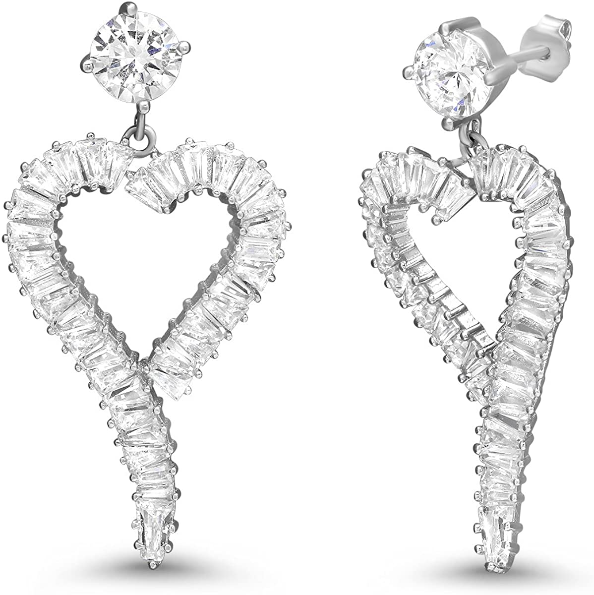 FB Jewels 925 Sterling Silver Womens Round CZ Heart Fashion Charm Pendant