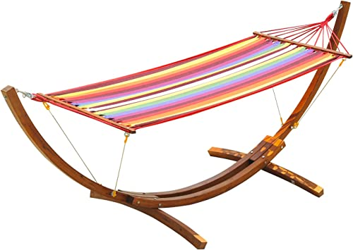Outsunny 10 Wood Hammock with Stand, Heavy Duty Curved Arch Hammock for Single Person, Multicolor