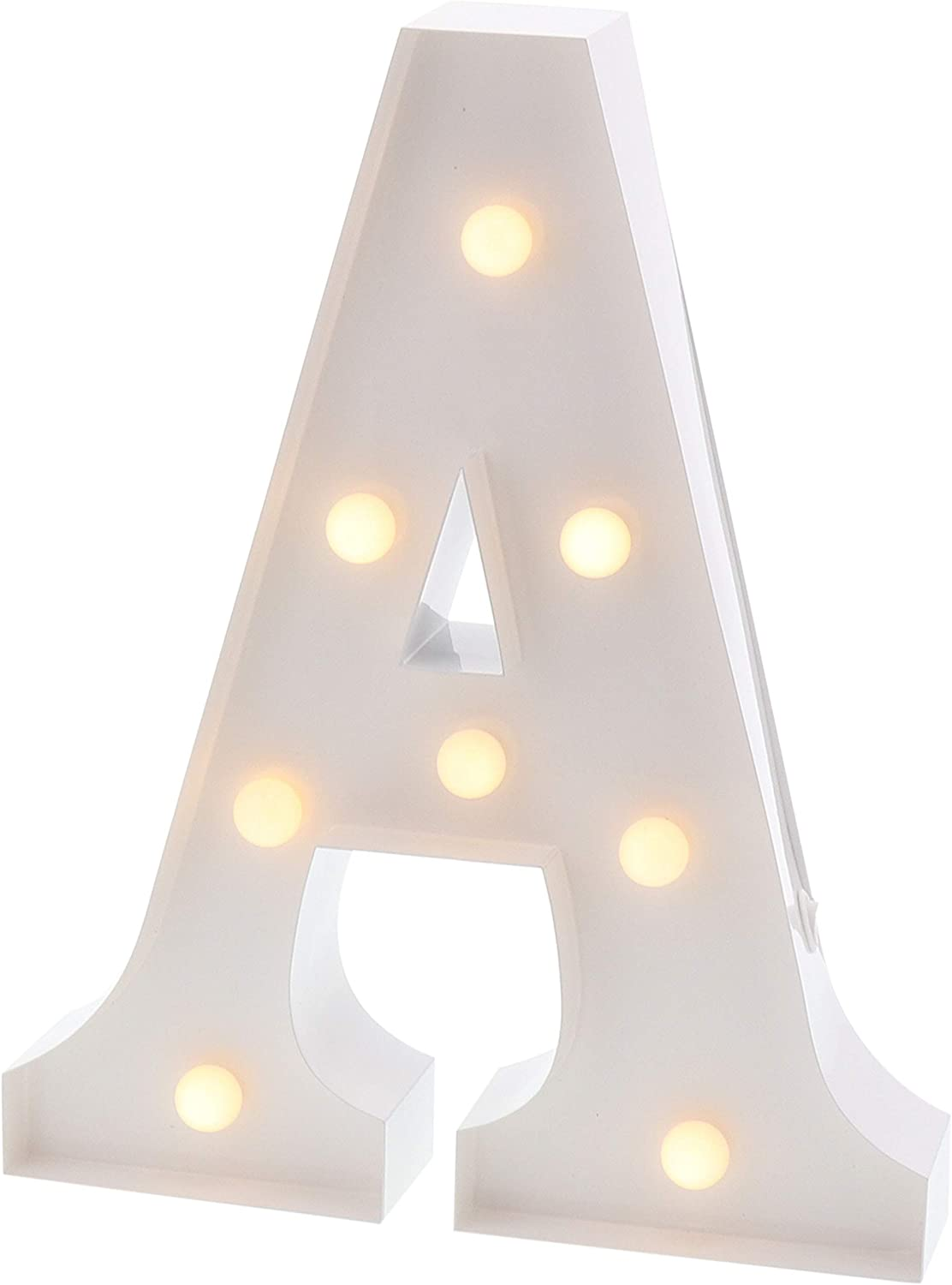 "Barnyard Designs Metal Marquee Letter A Light Up Wall Initial Wedding, Bar, Home and Nursery Letter Decoration 12"" (White)"