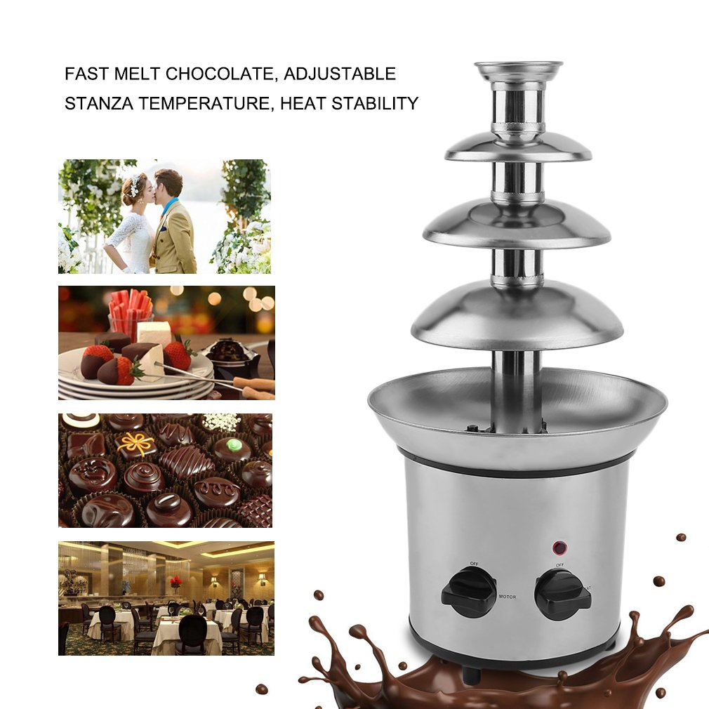 Belovedkai 4-Tier Stainless Steel Chocolate Fondue Fountain, Waterfall Fountain Machine for Home Commercial Use
