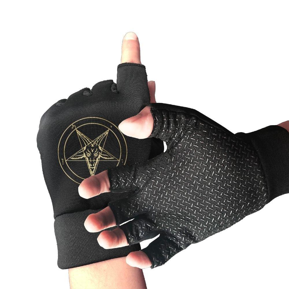 GOLD Baphomet Inverted Pentacle Pewter Satanic Goat Head Unisex Half Finger Gloves