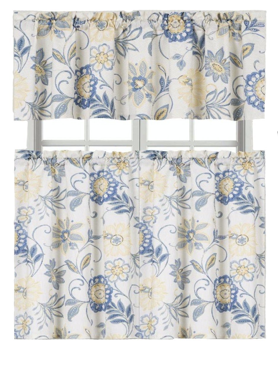 GoodGram Ultra Luxurious Palm Beach Floral Shabby Kitchen Curtain Tier & Valance Set by
