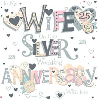 Amazon wife 25th anniversary silver anniversary greetings talking pictures wife silver 25th wedding anniversary greeting card 8 square handmade cards m4hsunfo