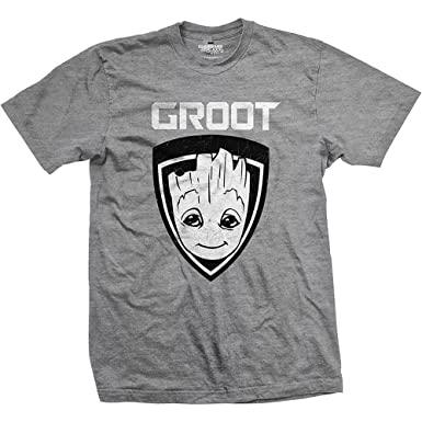 Mens Grey Short Sleeve T Shirt Guardians of the Galaxy Groot Shield Official  Small