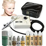 Art of Air FAIR Complexion Professional Airbrush Cosmetic Makeup System / 4pc Foundation Set with Blush, Bronzer, Shimmer and