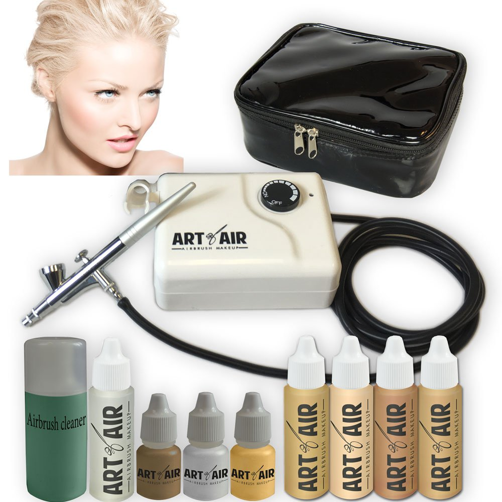 Art of Air FAIR Complexion Professional Airbrush Cosmetic Makeup System / 4pc Foundation Set with Blush, Bronzer, Shimmer and Primer Makeup Airbrush Kit by Art of Air AOA-FAIR