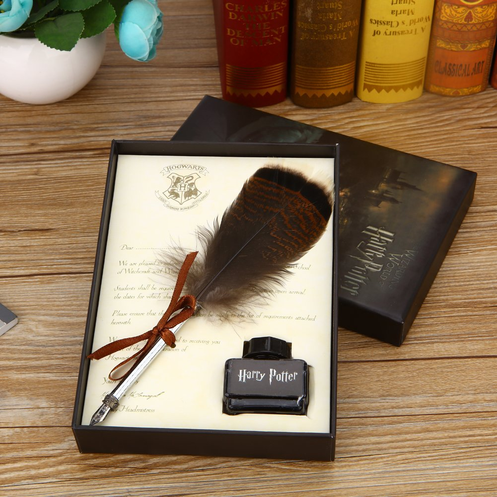 Harry Potter Feather Quill Pen with Ink Set Feather Dip Pen Antique Calligraphy Writing Quill Pen Gift Set for Kids Friend Birthday Christmas Gift Set by YOCOM (Image #5)