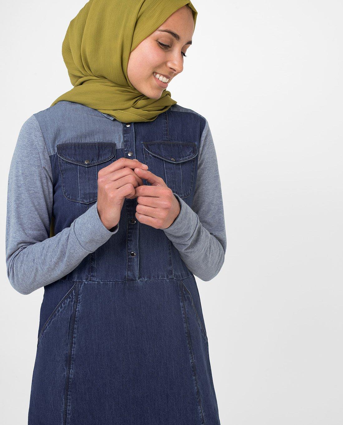 Silk Route Grey Contrast Fine Denim Maxi Dress Jilbab Medium 56 by Silk Route (Image #3)