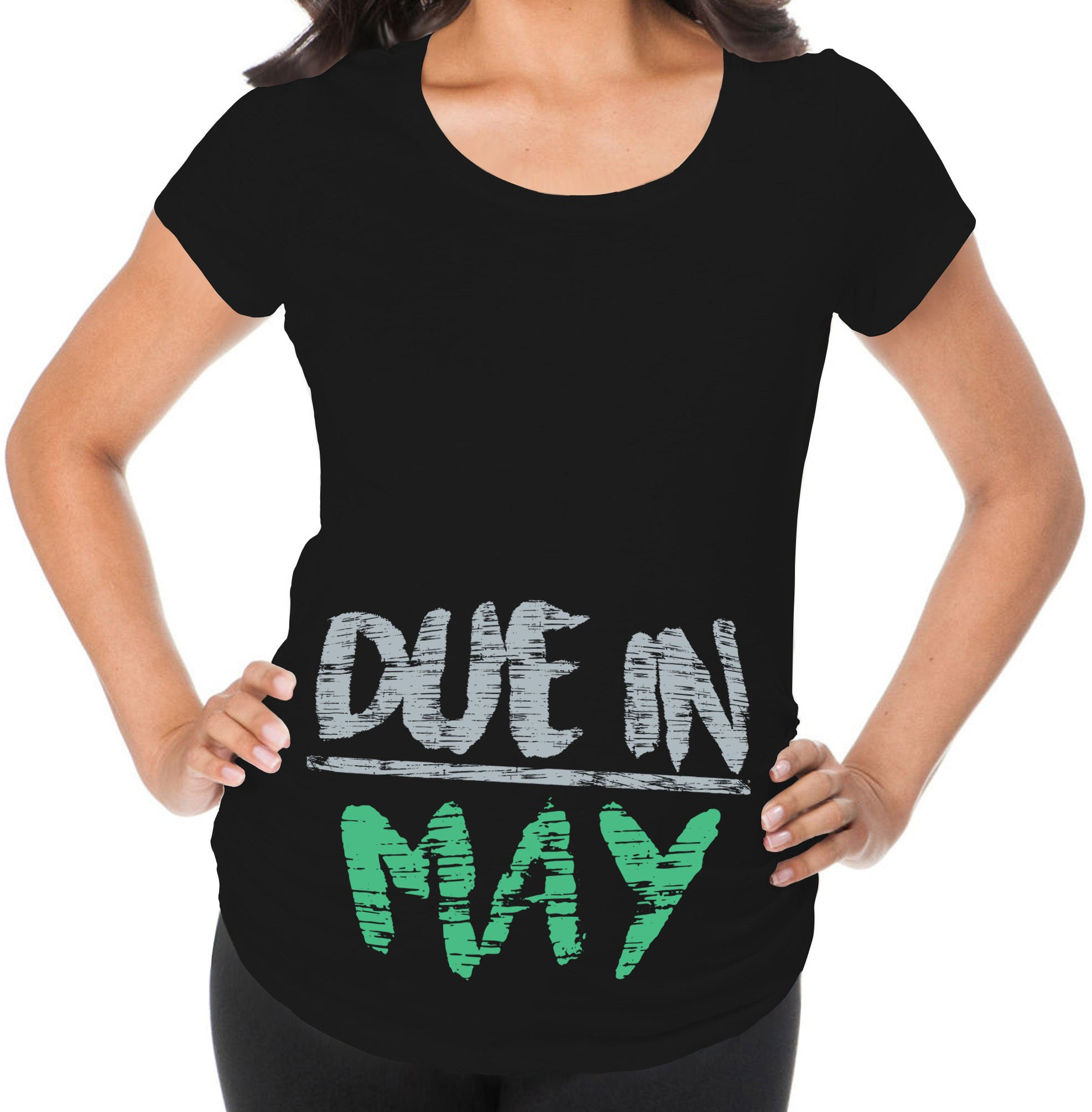 Awkward Styles Due in May Pregnancy Announcement Maternity T Shirt Mom to Be Black 2XL