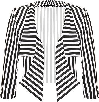 895fe2dfb033 WearAll Women's Plus Cropped Waterfall Blazer - Black White - US 12-14 (UK
