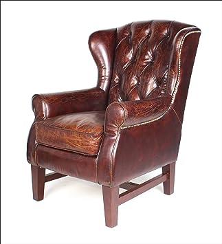 Phoenixarts Sessel Chesterfield Ledersessel Vintage Design