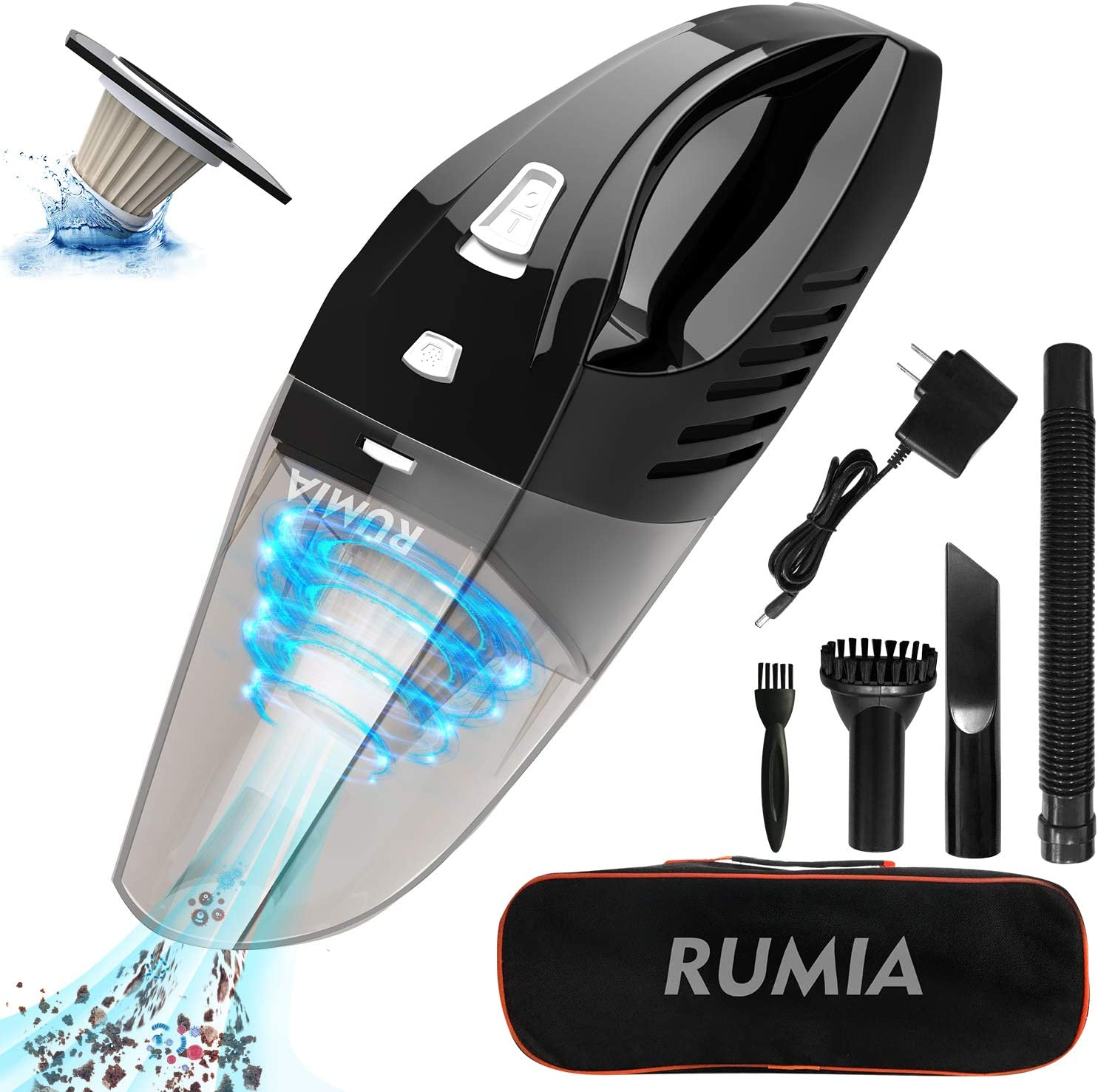 RUMIA Hand Vacuum Cordless with 7000PA Powerful Suction Handheld Vacuum Cleaner for Home/Car Cleaning,Wet Dry Vac