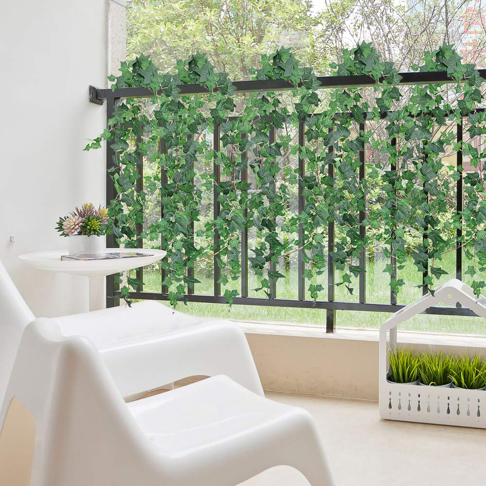 XiaZ Greenery Garland Hanging Plant with Willow Leaf 8 Pack Artificial Vines with 40 Stems Faux Greenery Leaves for Table Chairs Backdrops Backyard Indoor Decor