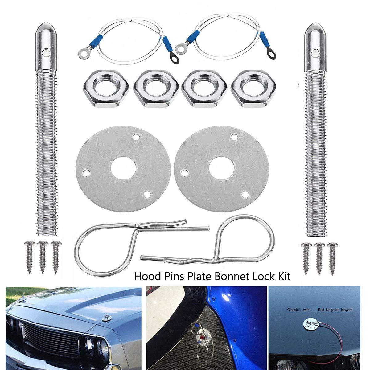 TOOGOO Universal Mount Bonnet Hood Pin Lock Latch Kit Racing Sport Car Alloy Silver