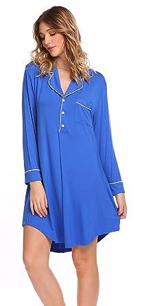 4ec6606095 Sweetnight Women Long Sleeve Boyfriend Style Sleepwear Nightgowns ...