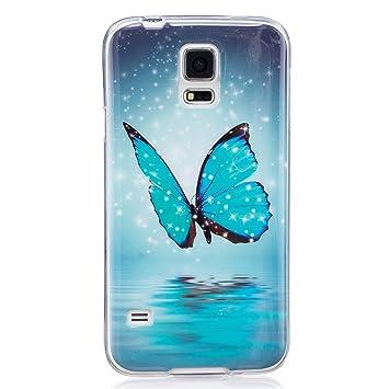 ISAKEN Funda para Samsung Galaxy S5, Slim Carcasa de Silicona TPU Luminosos Fluorescentes En La Oscuridad Trasera Bumper Case Cover Funda Cáscara para ...