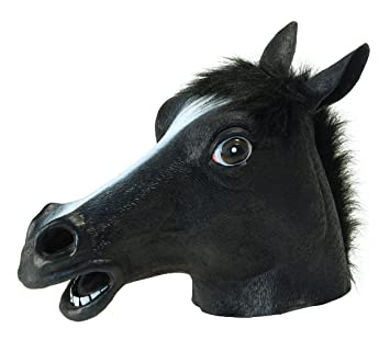 Bristol Novelty Máscara de caballo para disfraz de adulto, color negro