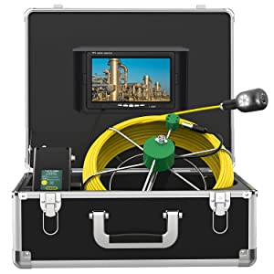 """Endoscope Camera Dual Lens IP68 Waterproof 1080P 6 Adjustable LED Light, Sewer Pipe Inspection 7"""" LCD Monitor,Plumbing Industrial Borescope Camera with DVR(Include 16GB Card) (30M)"""