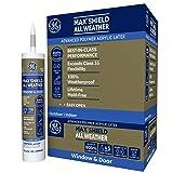 GE Max Shield All Weather Siliconized Acrylic Latex Sealant Caulk, Warm Gray, 10.1oz