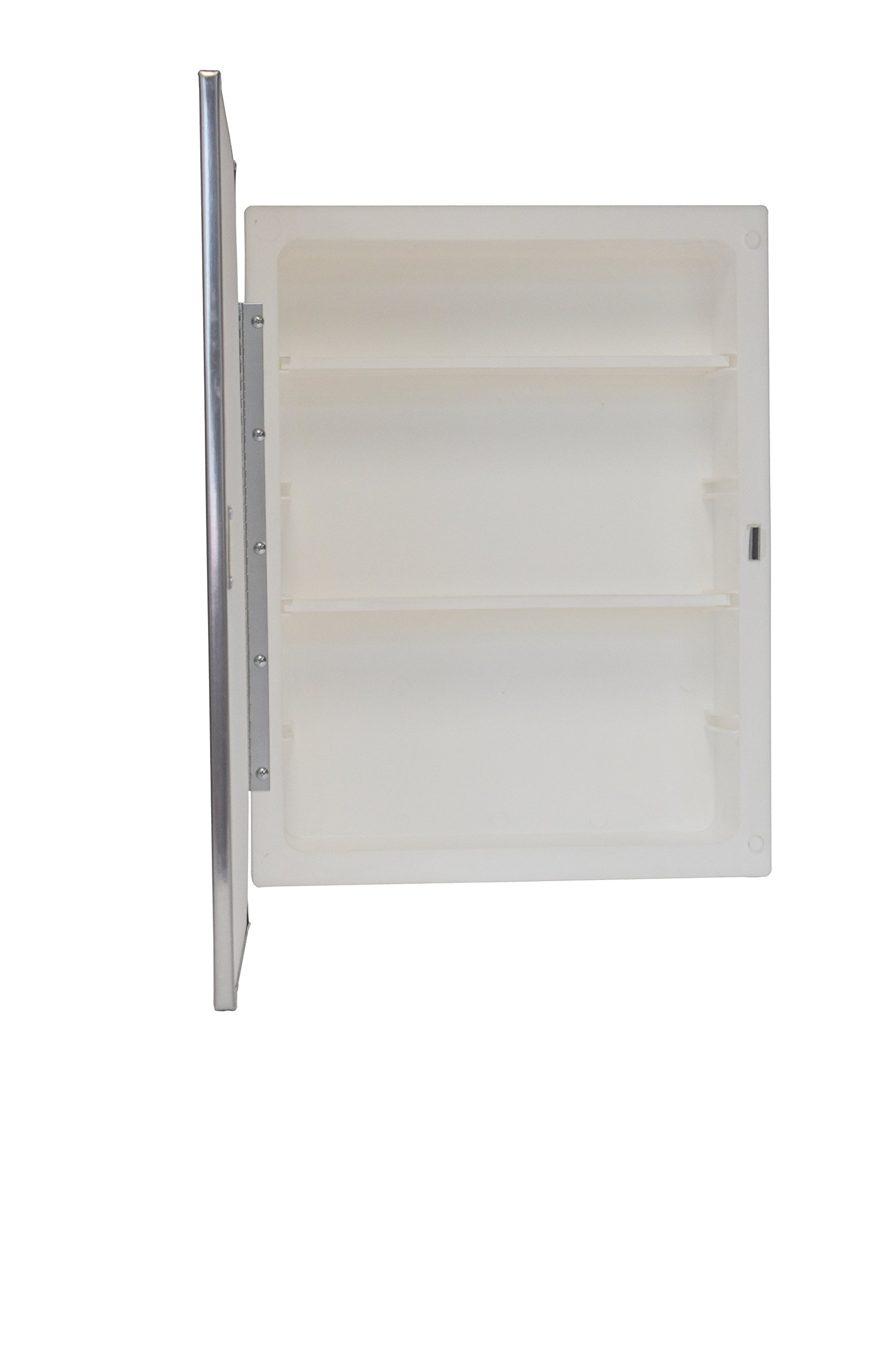 Mirrors and More Recessed Framed Mirror Bright Steel Medicine Cabinet | Adjustable Shelves | Bathroom | Kitchen | 16'' x 22''