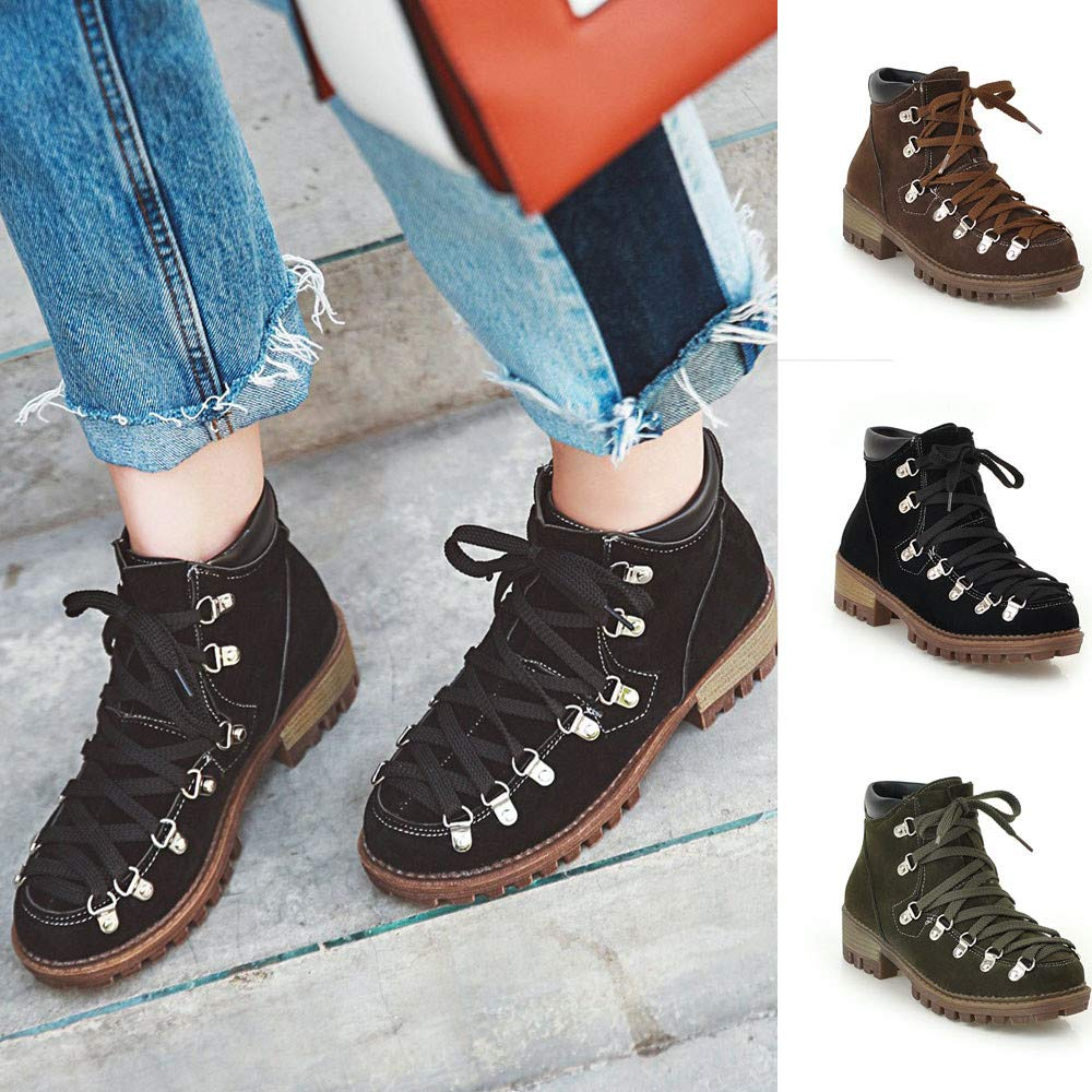 Short Tube Martin Boots Women Leisure Low-Heeled Shoe Platform Solid Color Scrub