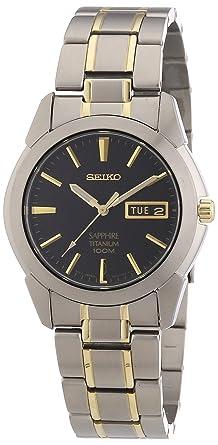 Seiko Reloj Analógico de Cuarzo para Hombre con Correa de Titanio - SGG735P1: Amazon.es: Relojes
