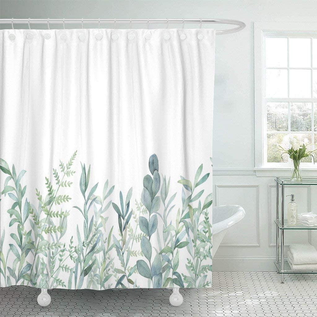 "Emvency Fabric Shower Curtain Curtains with Hooks Green Eucalyptus Watercolor Floral Pattern Botanical Artistic Border Botany Bouquet Branch Christmas Clip 72""X72"" Waterproof Decorative Bathroom"