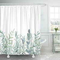 Emvency Fabric Shower Curtain Curtains with Hooks Green Eucalyptus Watercolor Floral Pattern Botanical Artistic Border Botany Bouquet Branch Christmas Clip 60