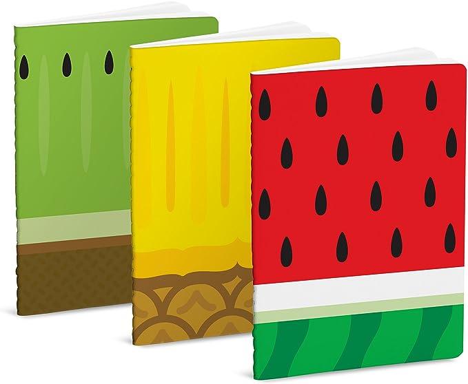 Mustard Froot Notebooks - Set de 3 libretas de bolsillo I Cuaderno de notas con 40 páginas blancas - diseño de frutas: Mustard: Amazon.es: Oficina y papelería