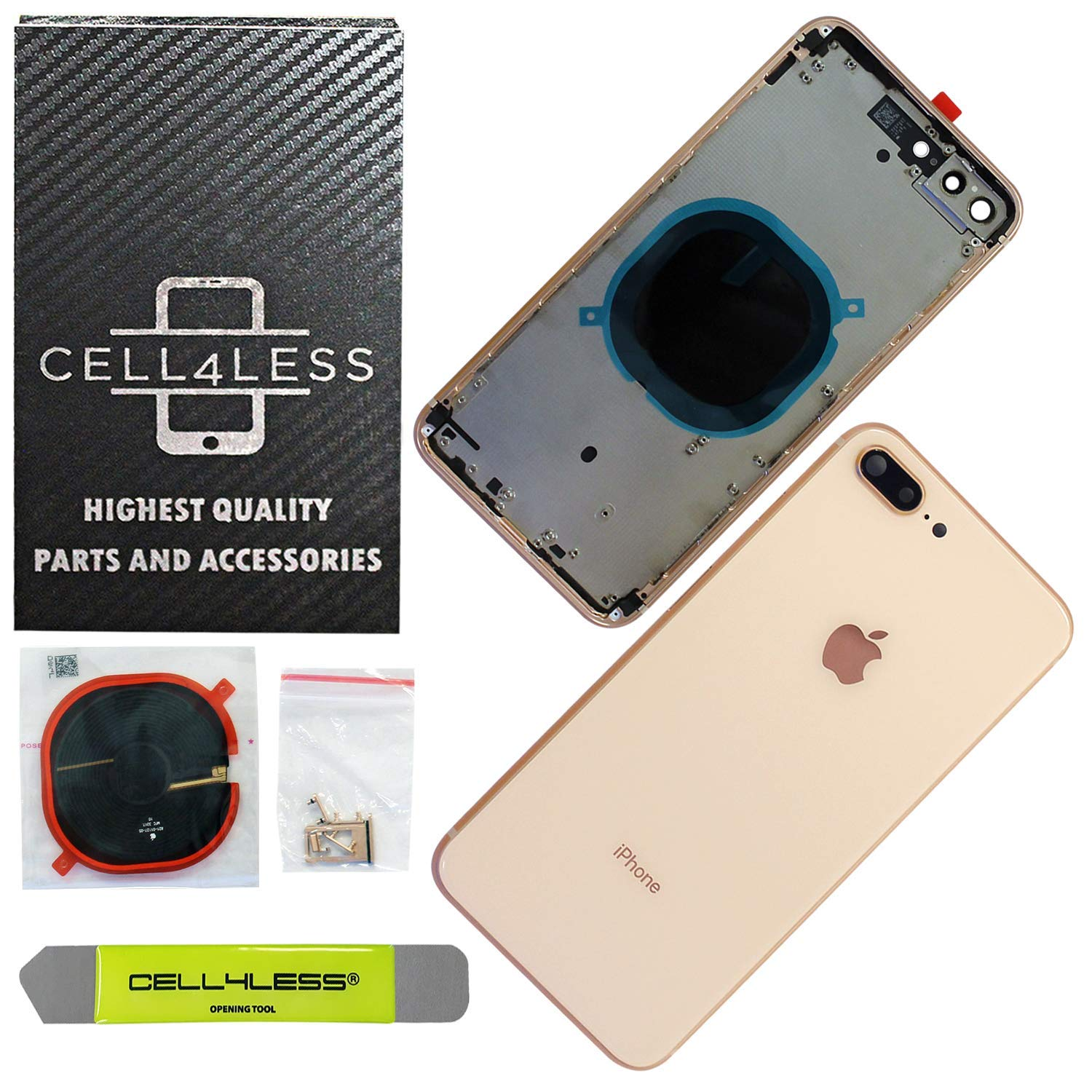 CELL4LESS Back Housing Assembly Metal Frame w/Back Glass - Wireless Charging pad - Sim Card Tray and Camera Frame w/Lens Compatible Only with iPhone 8 Plus (Gold) by Cell4Less