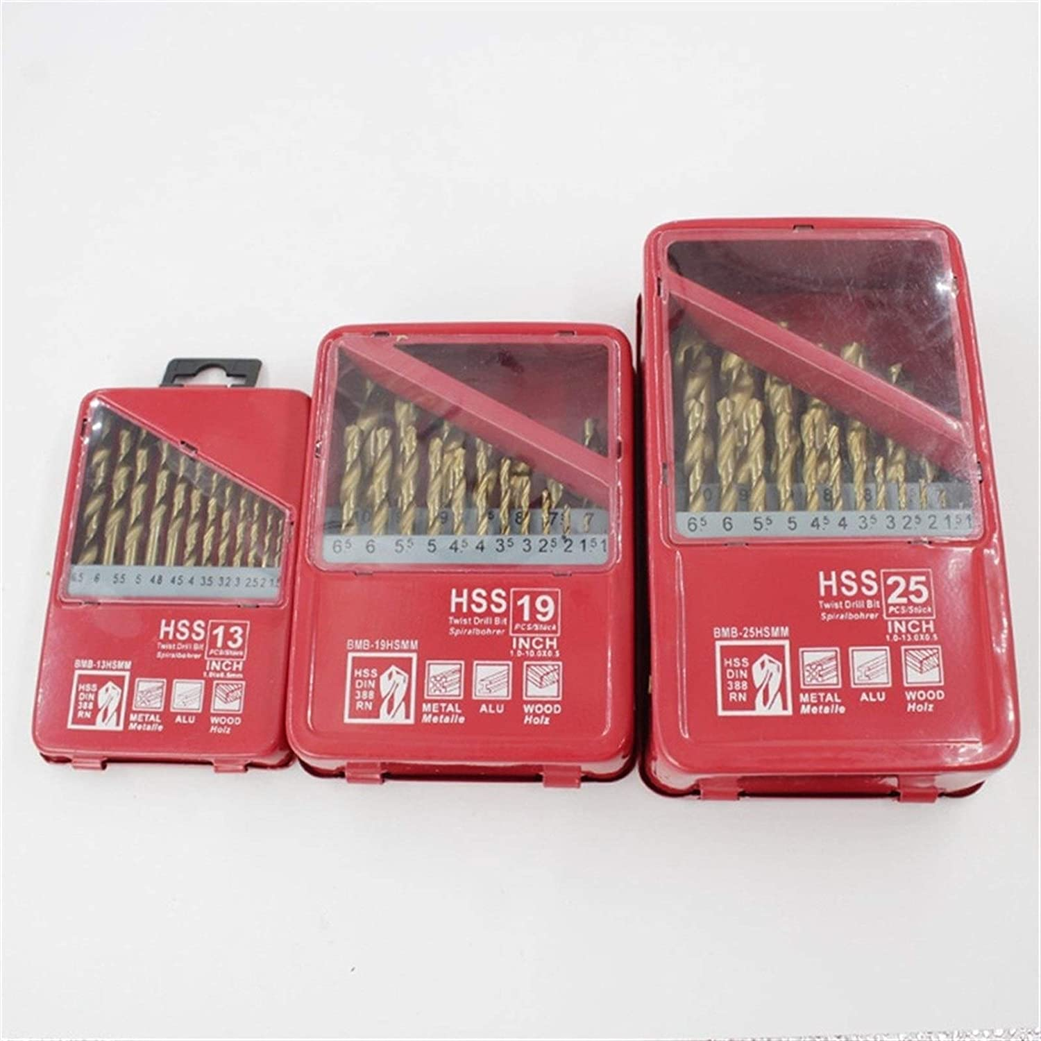 13/19/25PCS 1.0~13mm HSS Titanium Coated Drill Bit Set for Metal Woodworking Drilling Power Tools Accessories in Iron Box (Color : 25pcs) 25pcs