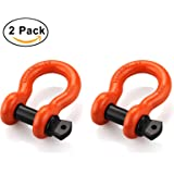 "Shackles 3/4"" (2 PACK) RETECK D ring Shackle Rugged Unbreakable Maximum Breaking Strength 28.5 Ton (57,000 Lbs) with 7/8'' Pin Bow Screw Heavy Duty D Ring for Jeep Vehicle Recovery, Orange"