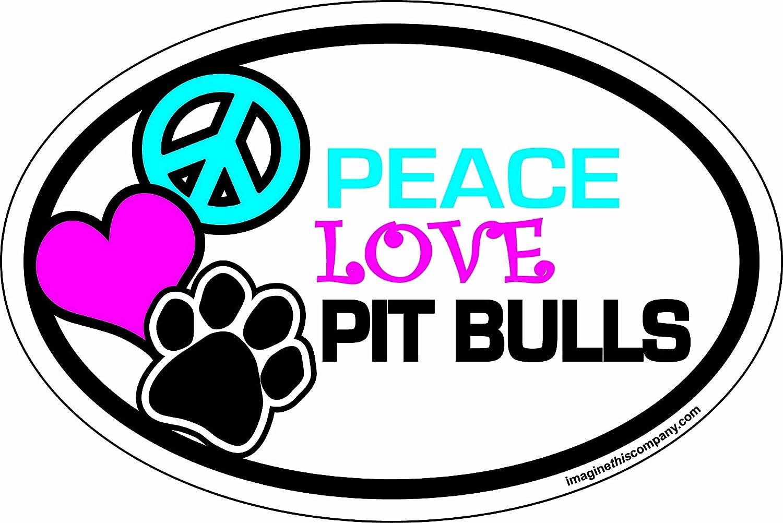 PIT BULLS Trucks Oval Dog Magnets: PEACE LOVE Cars PITBULLS