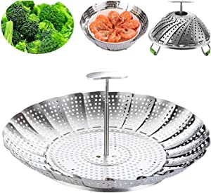 Steamer Basket, Steaming Basket Collapsible Food Steamer for Cooking Steamer Insert - Premium Stainless Steel Vegetable Steamer Basket, Fit Various Size Pots (6.4'' to 10'')