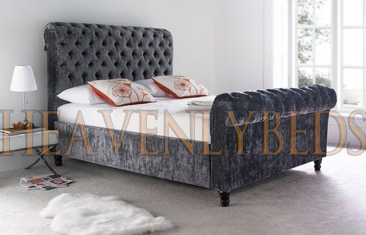heavenlybeds @ Scroll Nieten Schlitten Bett gecrushter Samt oder ...
