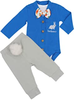 e814ae5039ac Baby Boys Girls 3PCs Sets My 1st Easter Romper Long Bodysuit Pants Outfit