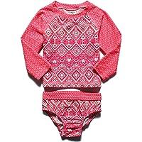 PHIBEE Girls' Rash Guard Set Long Sleeve UPF 50+ Sun Protection Two-Piece Swimwear