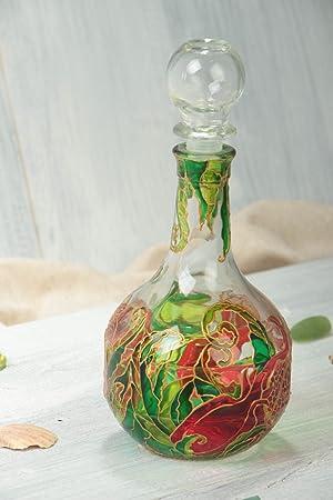 Garrafa decorada de vidrio hecha a mano vajilla original regalo especial: Amazon.es: Hogar