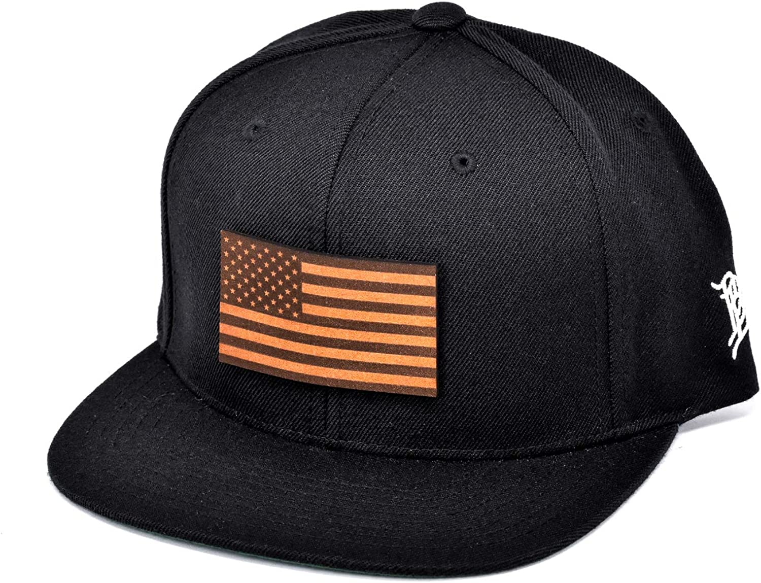 Branded Bills The Old Glory Leather Patch Classic Snapback Hat One Size Fits All Navy