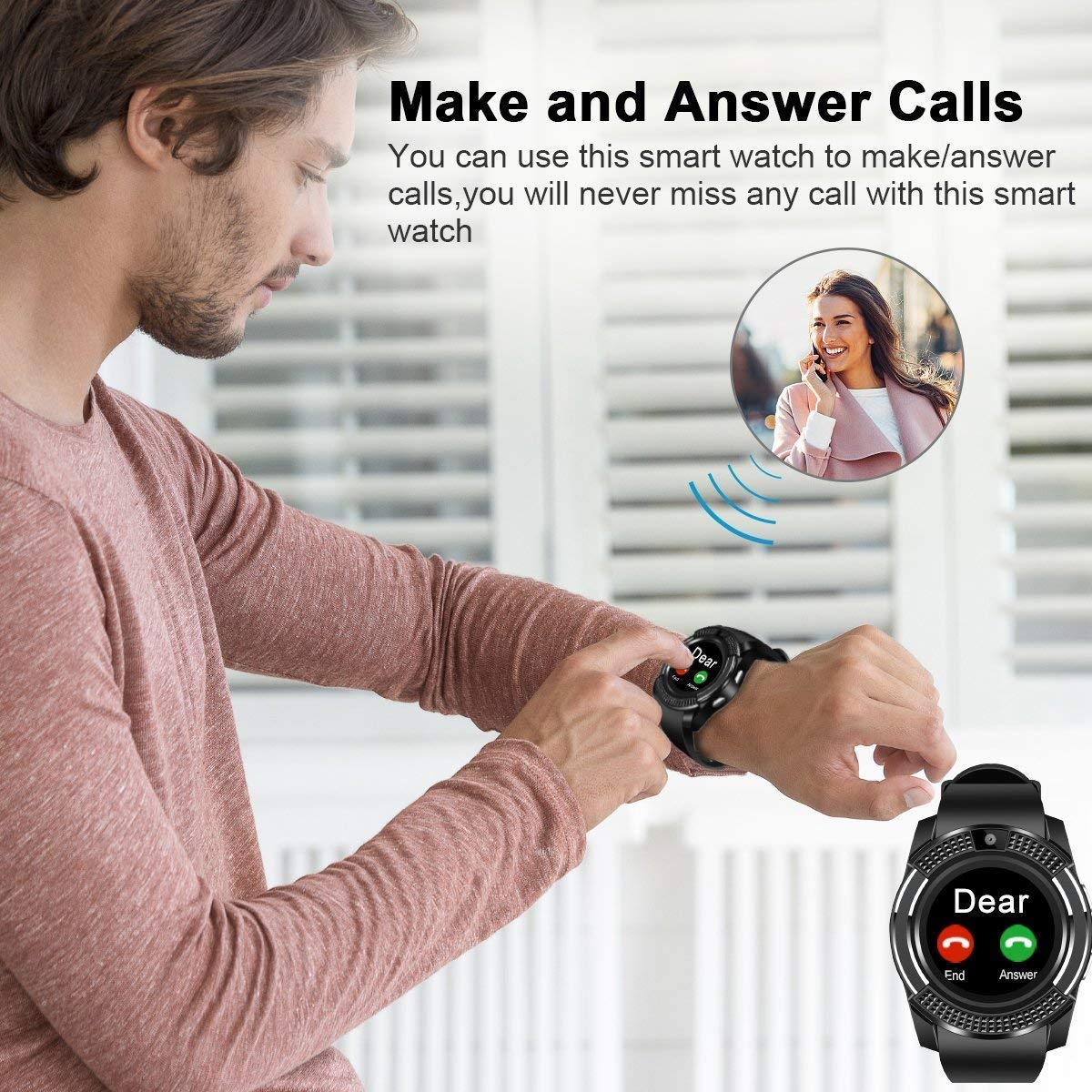 Smart Watch,Bluetooth Smartwatch Touch Screen Wrist Watch with Camera/SIM Card Slot,Waterproof Phone Smart Watch Sports Fitness Tracker Compatible Android Phones Black by Topffy (Image #5)