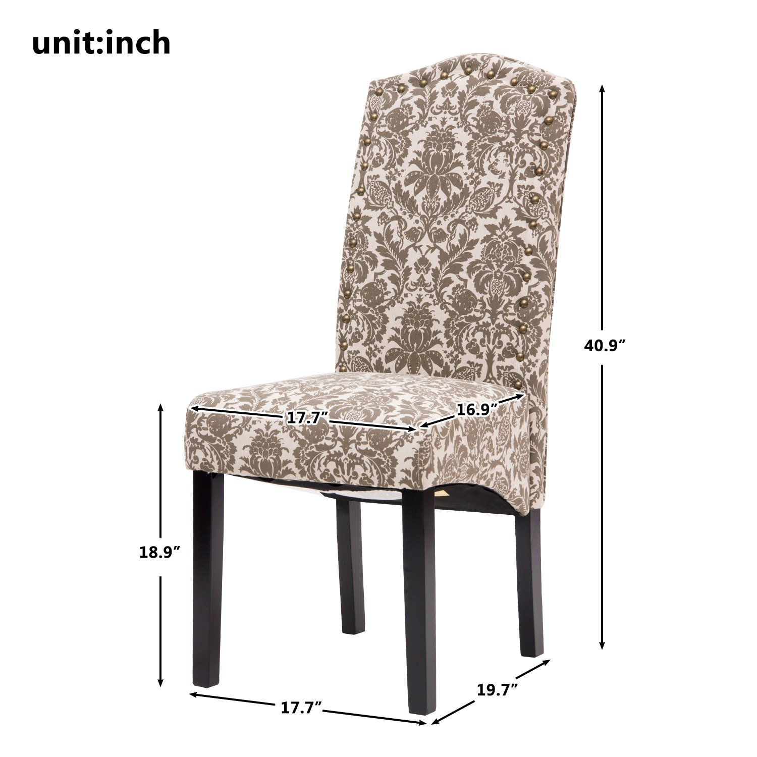 Merax PP036312EAA Ding Chair Fabric Accent Dining Room Solid Wood Legs, 18'' W x 22'' D x 41'' H, floarl by Merax (Image #3)