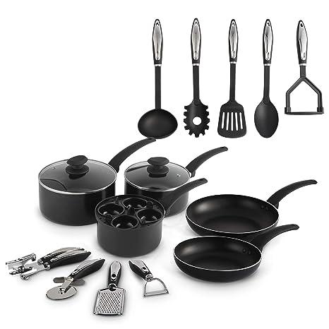 VonShef Juego de Utensilios de Cocina de aluminio de 15 piezas - Juego de sartenes y