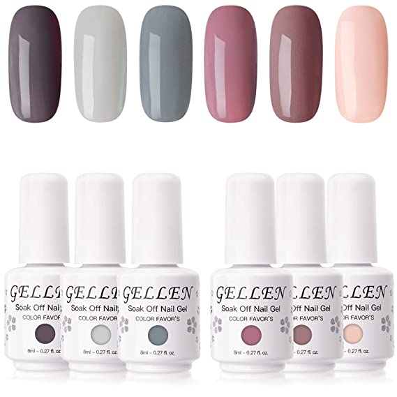 Amazon Com Gellen Gel Nail Polish Set Nude Grays 6 Colors Popular Nail Art Colors Uv Led Soak Off Nail Gel Kit Beauty