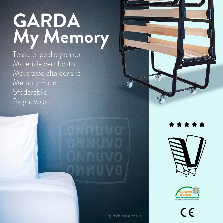 Cama plegable de hierro barnizado con ruedas y colchón de 2 cm de memory foam espuma viscoelástica + 8 cm de AirTechFoam+ de memoria para casa, ...