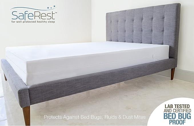 SafeRest Premium Caja Spring, diseño de Prueba de Laboratorio Prueba de Cama Bug, Polvo y ácaros y Resistente al Agua - Transpirable, silencioso y Vinilo ...