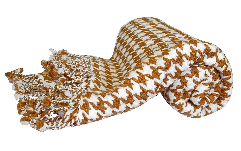 ピーチCoutureホームコレクション豪華なカシミアウール千鳥格子ニットThrow Blanket 50 x 60 in 50 x 60 ブラウン cash-houndstooth-throw-brown-FBA-PC-SM B00HRCL4QI ブラウン