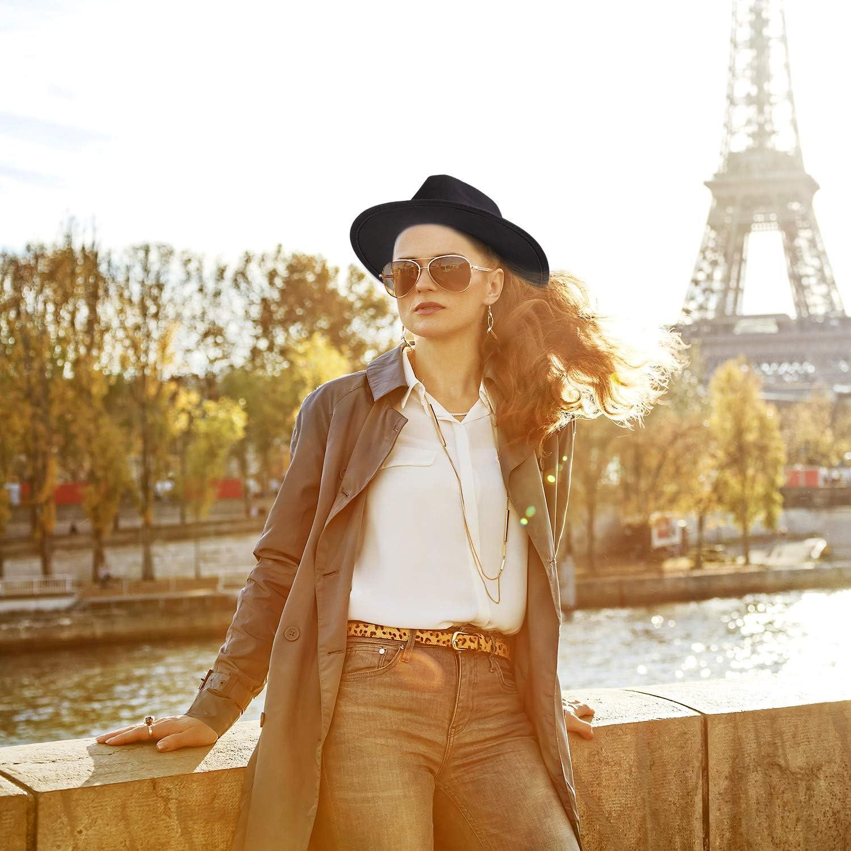 2 Pieces Women Classic Floppy Panama Hat Belt Buckle Wool Wide Brim Fedora Hat